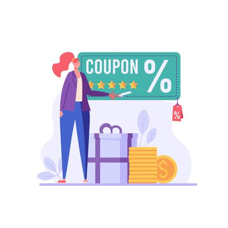 Happy customer cuts coupon with scissors. Discount program and big sale. Concept of shopping, loyalty program, payment credit card. Vector illustration for UI, web banner, mobile app
