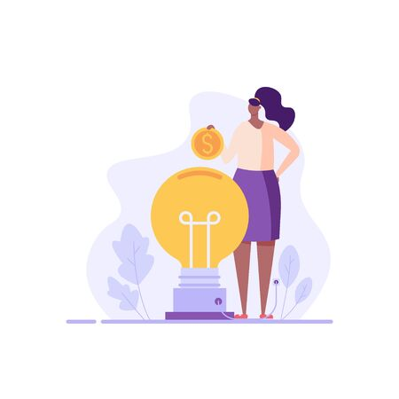 Successful businesswoman investing money in big idea. Sponsor standing with coin. Concept of startup, sponsoring, crowdfunding. Vector illustration for UI, web banner, mobile app Vecteurs
