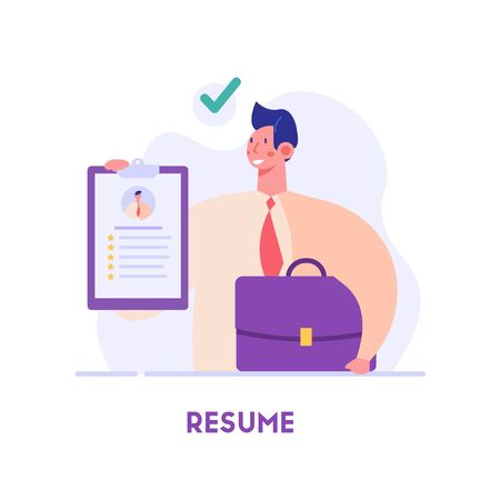 Employee searching job with cv portfolio. New team member. Welcome aboard. Concept of recruitment service, employees hiring, search for job candidates. Vector illustration for web and mobile app