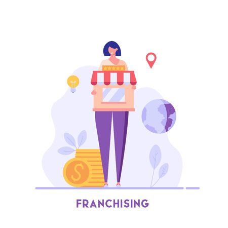 Businesswoman standing and buying a franchise. Buying a finished business. Concept of business industry, franchising, bizopp, distribution. Vector illustration in flat design.