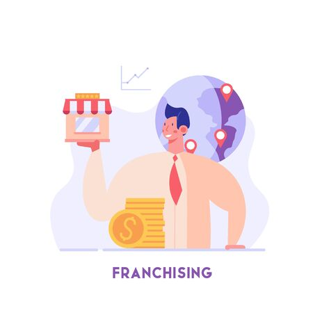 Businessman standing and buying a franchise. Buying a finished business. Concept of business industry, franchising, bizopp, distribution. Vector illustration in flat design.