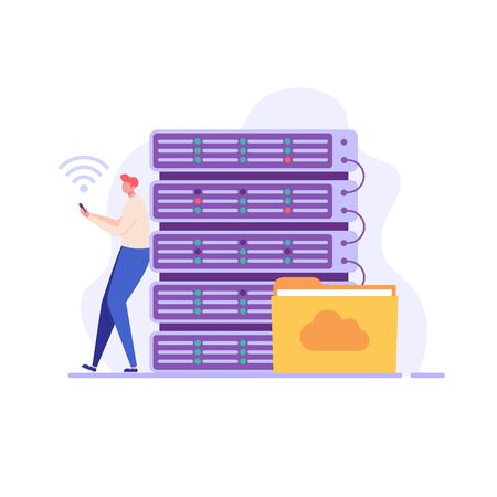 Web hosting. Concept of cloud computing, online database, technology, security, computer, web data center, server.  Vector illustration for web banner, infographics, mobile app