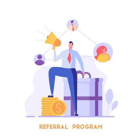 Man stands with a shout and invites friends. Refer a friend. Concept of referral program, inviting, business partnership, smm. Vector illustration in flat design for UI, banner, mobile app Ilustración de vector