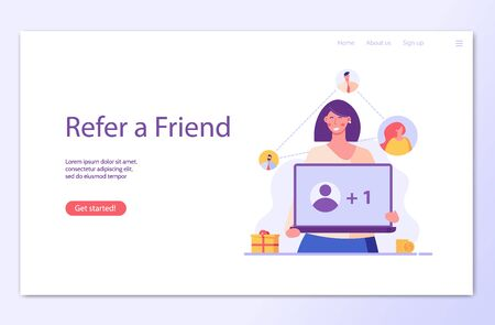Woman stands with laptop and invites friends. Refer a friend. Concept of referral program, inviting, business partnership, smm. Vector illustration in flat design for UI, banner, landing page