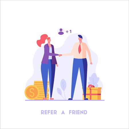 Woman shakes hands with a man. Refer a friend. Concept of referral program, inviting, business partnership, smm, cooperation. Vector illustration in flat design for UI, banner, mobile app Stock Illustratie