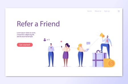 Man with a shout and invites friends. Refer a friend. Concept of referral program, inviting, business partnership, smm. Vector illustration in flat design for UI, banner, landing page Stock Illustratie