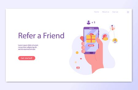 Hand holds the phone with rewards program. Refer a friend. Concept of referral program, inviting, business partnership, smm. Vector illustration in flat design for UI, banner, landing page