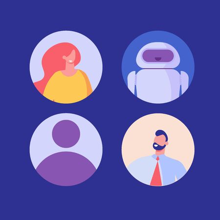 Avatars of women, men, chat bot, unknown. Concept of user pic, face icons. Vector illustration in flat design for representing person a video game, Internet forum, account, business correspondence Vectores