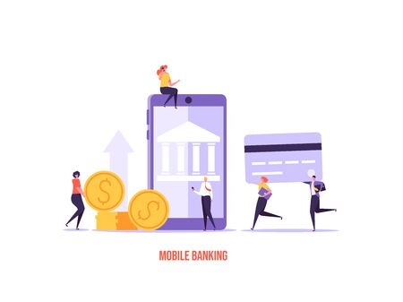 Concept of online banking, transfer money, cashback, money growth. Man with phone and debit or credit card pays and gets money online. Modern vector illustration in flat design with tiny people Imagens - 147825554