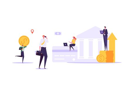 Concept of online banking, transfer money, cashback, money growth. Man with phone and debit or credit card pays and gets money online. Modern vector illustration in flat design with tiny people Imagens - 147830021