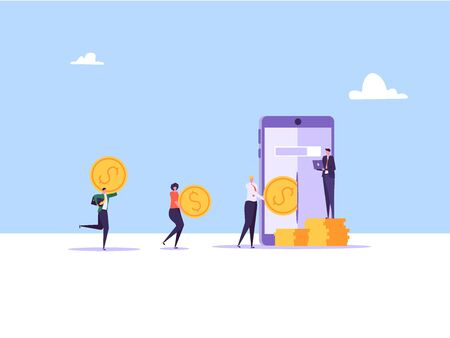 Concept of online banking, transfer money, cashback, money growth. Man with phone and debit or credit card pays and gets money online. Modern vector illustration in flat design with tiny people Imagens - 147829532