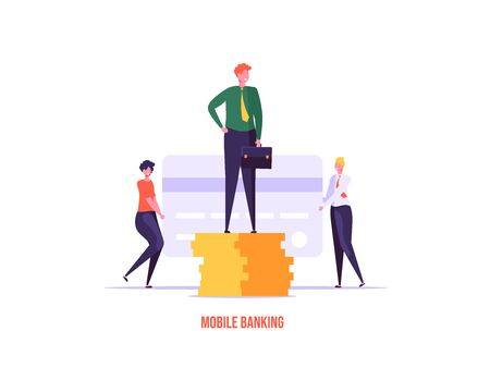 Concept of online banking, transfer money, cashback, money growth. Man with phone and debit or credit card pays and gets money online. Modern vector illustration in flat design with tiny people
