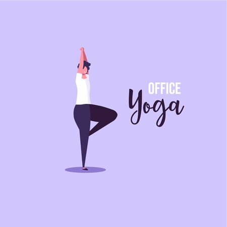Office yoga illustration. Business woman doing yoga in office on background. Concept of meditation, concentration and yoga. Modern vector illustration. Ilustração
