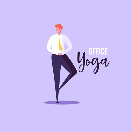 Office yoga illustration. Business man doing yoga in office on background. Concept of meditation, concentration and yoga. Modern vector illustration.
