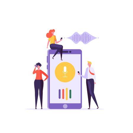 Online assistant. Young people use speaker recognition, voice control, virtual assistant, identification, hotline operator. Vector illustration concept of flat design. Ilustração