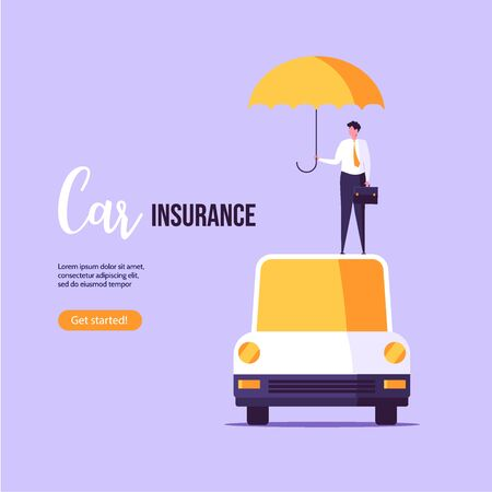 Car insurance vector illustration. Insurer in a suit protects the car. Concept of insurance, protection, security, transport. Vector illustration in flat design Imagens - 148772006