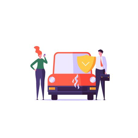Car insurance vector illustration. Insurer in a suit protects the car. Concept of insurance, protection, security, transport. Vector illustration in flat design