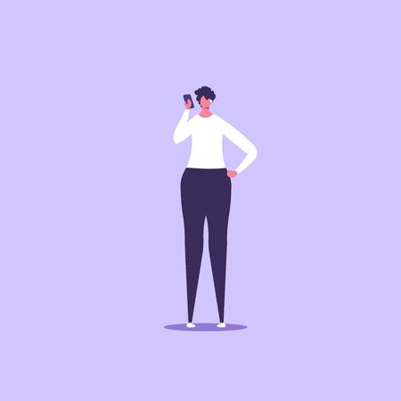 Concept of businesswoman with gadget. isolated cartoon illustration in flat design Imagens - 148772090