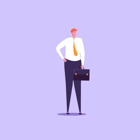 Concept of businessman with gadjet. isolated cartoon illustration in flat design Imagens - 148772182