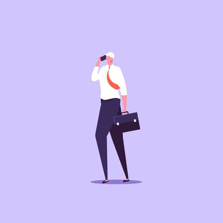 Concept of businessman with gadjet. isolated cartoon illustration in flat design Imagens - 148772185
