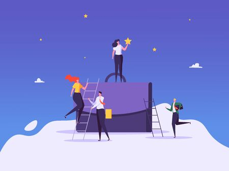 Concept of career, professional growth, supporting employees, coaching, career planning, career development, and team work. Businessmen and employees on the ladder, going to the goal. Vector illustration Imagens - 148660093