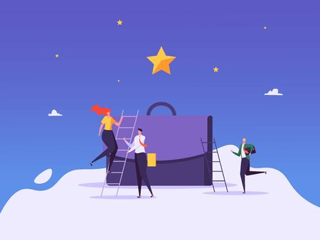 Concept of career, professional growth, supporting employees, coaching, career planning, career development, and team work. Businessmen and employees on the ladder, going to the goal. Vector illustration Imagens - 148659999