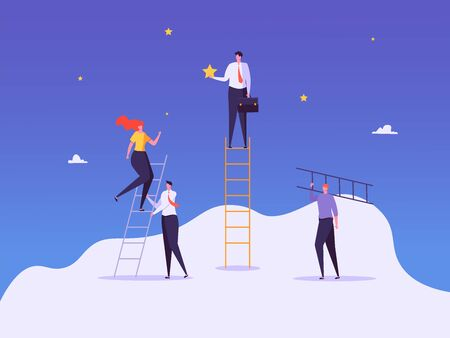 Concept of career, professional growth, supporting employees, coaching, career planning, career development, and team work. Businessmen and employees on the ladder, going to the goal. Vector illustration
