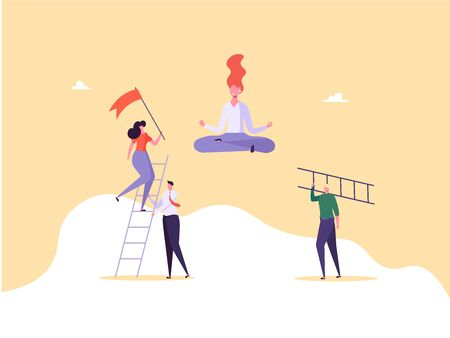 Concept of career, professional growth, supporting employees, coaching, career planning, career development, and team work. Businessmen and employees on the ladder, going to the goal. Vector illustration Imagens - 148660077