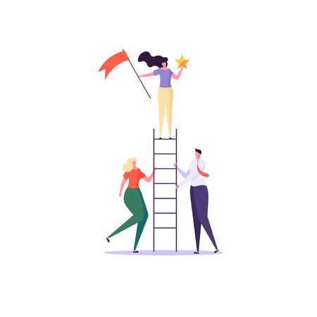 Concept of career, professional growth, supporting employees, coaching, career planning, career development, and team work. Businessmen and employees on the ladder, going to the goal. Vector illustration Imagens - 148658327