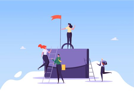 Concept of career, professional growth, supporting employees, coaching, career planning, career development, and team work. Businessmen and employees on the ladder, going to the goal. Vector illustration Imagens - 148658939