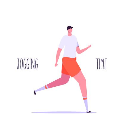 Summer outdoor sport activities. Young people jogging and running. Morning workout and jogging. Active and healthy lifestyle. Vector illustration in flat design.