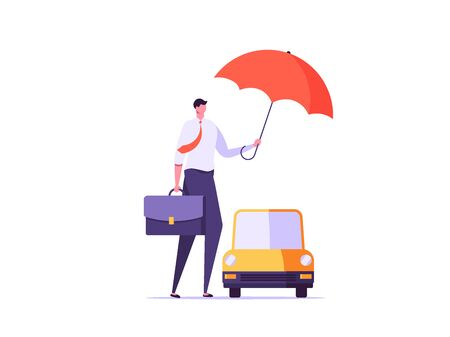Car insurance, auto protection, automobile safety and insurance agent concept. Agent in a suit with case protects client and car. Vector illustration in flat cartoon design