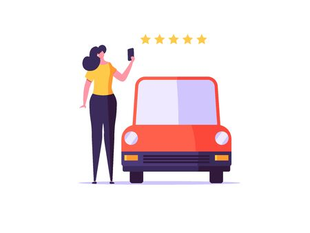 Online car service and car sharing service concept. Modern illustration with automobile and character standing beside phone with gps mark and city map on screen.