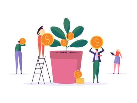 Money growth, business people, corporate character. Concept of Businessman, businesswoman and employee team with phone and laptop. Work community vector cartoon flat illustration collection Ilustração