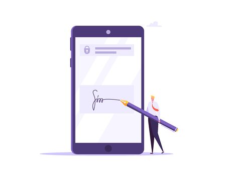 Digital signature, business contract, electronic contract, e-signature concept. Vector illustration in flat design Imagens - 148663869