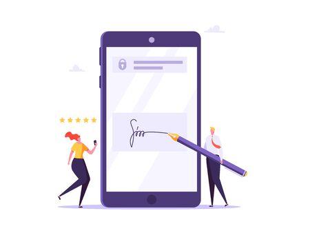 Digital signature, business contract, electronic contract, e-signature concept. Vector illustration in flat design