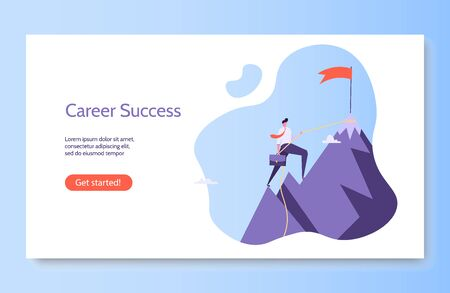 Concept of career, professional growth, supporting employees, coaching, career planning, career development, and team work. Businessman and employee on the stairs go to the goal. Vector illustration in flat design