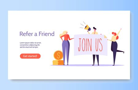 Refer a friend vector illustration concept. Group of young man and woman attracts customers for money and gifts. Referral program and social media marketing for friends