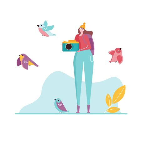 Birding, bird watching, eco tourism concept. Woman with camera take photo birds on white background. Vector illustration in flat cartoon design