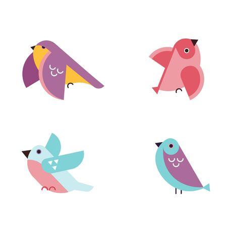 Birding, bird watching, eco tourism concept. Birds on white background. Vector illustration in flat cartoon design