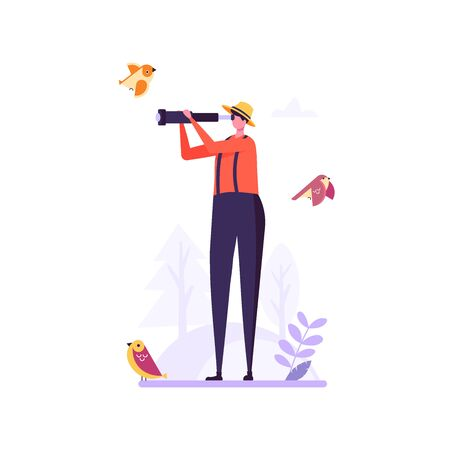Birding, bird watching, eco tourism concept. Man with telescope watching birds on white background. Vector illustration in flat cartoon design