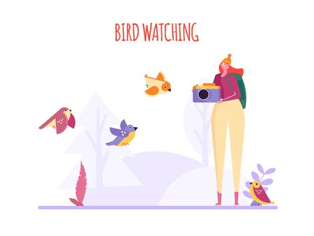 Birding, bird watching, eco tourism concept. Woman with camera take photo birds on white background. Vector illustration in flat cartoon design Imagens - 148391336