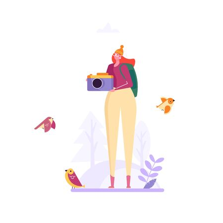 Birding, bird watching, eco tourism concept. Woman with camera take photo birds on white background. Vector illustration in flat cartoon design Imagens - 148391337