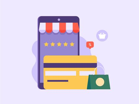 Online shopping, e-commerce, shopping items, credit cards and discount concept. Bbuying, leaving feedback and making order in internet. Can use for UI, app, banner, landing page. Vector illustration. Ilustração