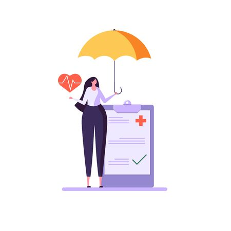 Concept of health insurance and life insurance. Protection of health and life of people with document of insurance. Healthcare and medical service. Vector illustration in flat cartoon design Ilustração