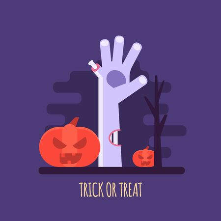 Vector illustration of Halloween party invitations or greeting cards. Concept of zombie hand, pumpkin and dark forest. Flat design Imagens - 148391338