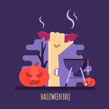 Vector illustration of Halloween party barbecue invitations or greeting cards. Concept of zombie hand, pumpkin, barbeque, grill and dark forest. Flat design Imagens - 148391340