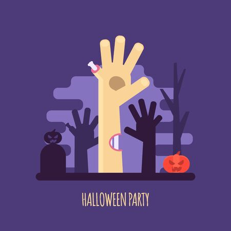 Vector illustration of Halloween party invitations or greeting cards. Concept of zombie hand, pumpkin and dark forest. Flat design
