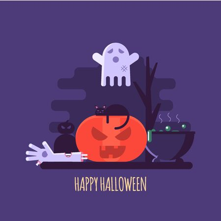Vector illustration of Halloween party invitations or greeting cards. Concept of zombie hand, ghost, pumpkin and black cat. Flat design