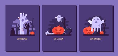 Vector illustration set of Halloween party invitations or greeting cards. Concept of zombie hand, ghost, pumpkin and black cat. Flat design